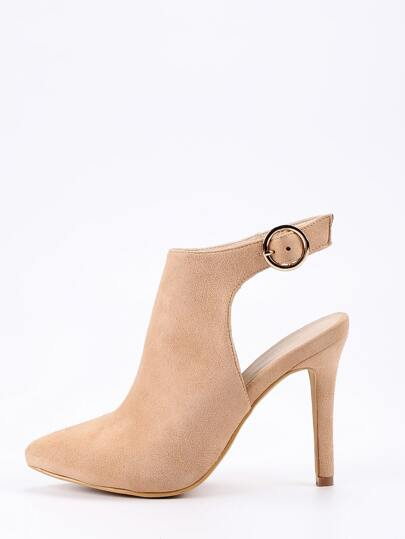 Faux Suede Pointed-Toe High Vamp Pumps - Beige