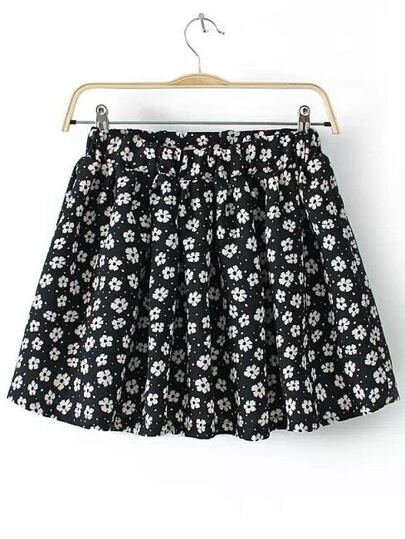 Flower Print Pleated Chiffon Skirt