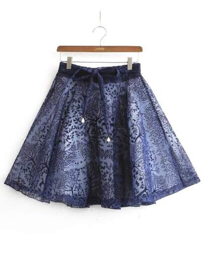 Tree Pattern Bow Flare Blue Skirt