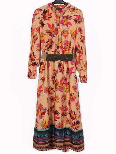 Stand Collar Floral Belt Dress