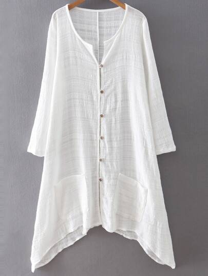White Assymetrical Colarless Pocket Shirt Dress