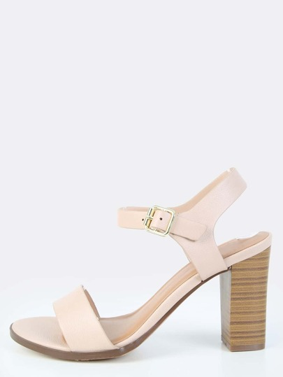Open Toe Stacked Heels BLUSH