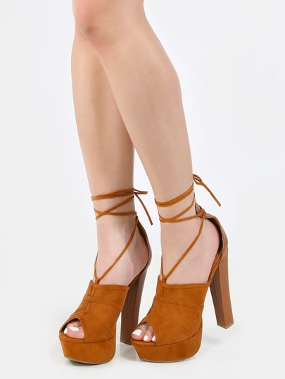Peep Toe Lace Up Chunky Heels WHISKY