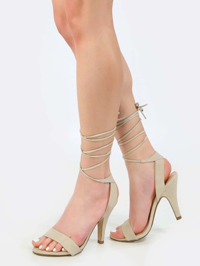 Lace Up Open Toe Heels LIGHT TAUPE