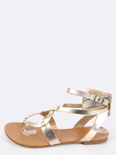 Metallic Thong Sandals CHAMPAGNE