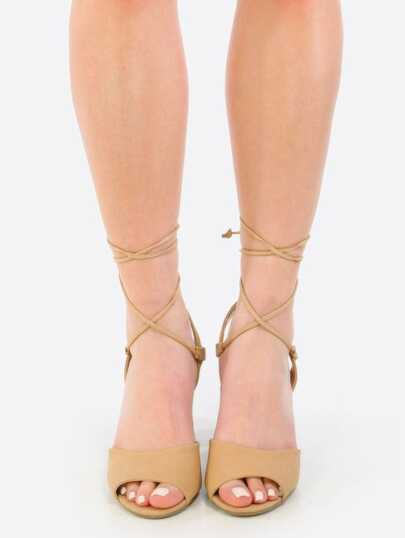 Lace Up Block Heels NATURAL