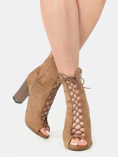 Peep Toe Lace Up Chunky Heel Booties TAUPE