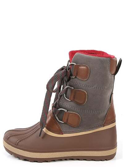 Bamboo Blizzard-01 Chunky Buckle Duck Boots  CHESTNUT
