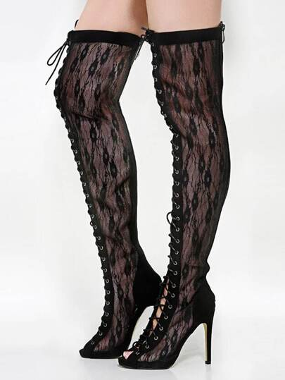 Olga-yh-1 Lace Thigh High Boots