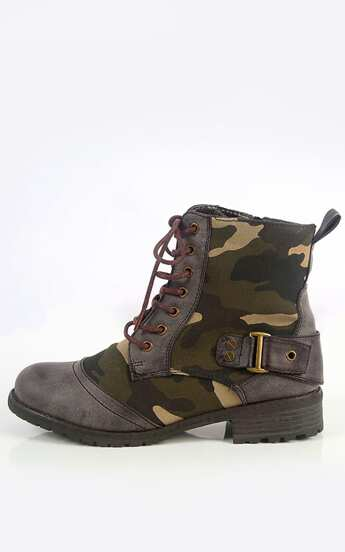 Wild Diva Timberly-73a Camouflage Combat Boots