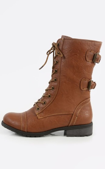 Wild Diva Timberly-02 Lace Up Combat Boots