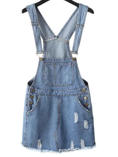 Blue Pockets Ripped Hole Denim Straps Dress