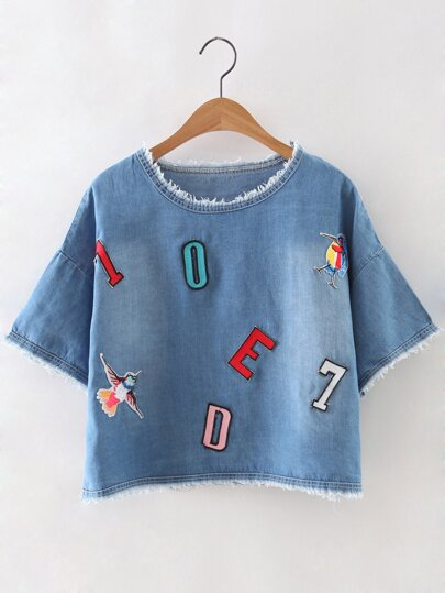 Blue Fringed Letter Bird Embroidery Denim Blouse