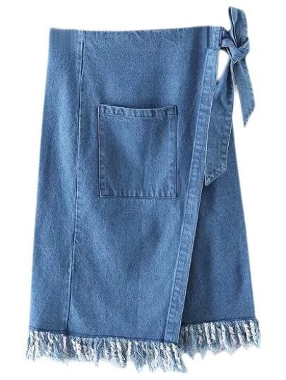 Blue Pocket Tie-Waist Bow Denim Fringed Skirt