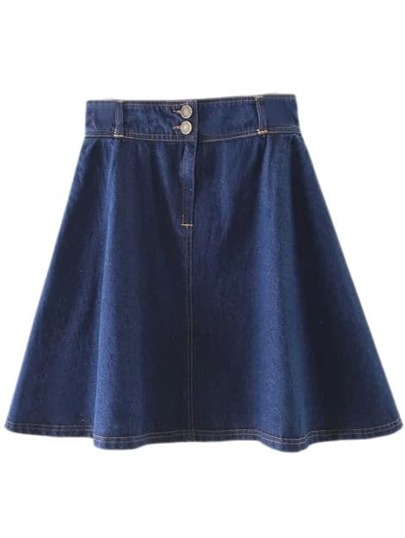 Blue Zipper Buttons Front Pockets Denim Swing Skirt