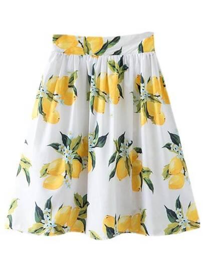 Multicolor High Waist Zipper Side Lemon Print Skirt