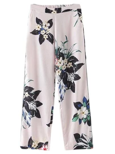 Multicolor Elatsic Waist Pockets Floral Print Pants