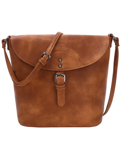 Distressed Buckle Flap Bucket Bag - Brown