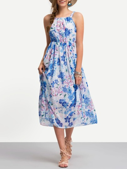 Strap Florals Chiffon Dress