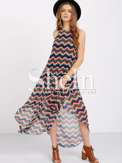 Multicolor Sleeveless Hollow Back Irregular Dress