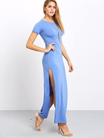 Light Blue Short Sleeve Split Side Dress