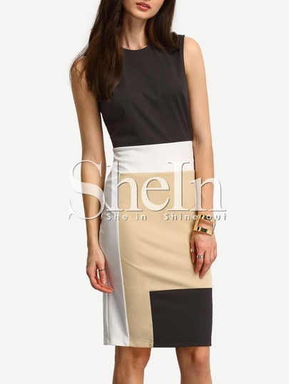 Multicolor Patchwork Sleeveless Sheath Dress