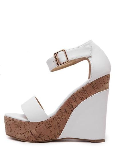 Sandalias de cuña peep toe tirante -blanco