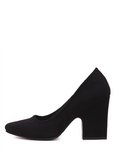 Black Square Toe Chunky Heel Pumps