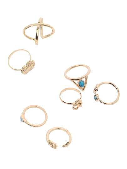 Gold Triangle Turquoise And Elephant 7pcs Rings