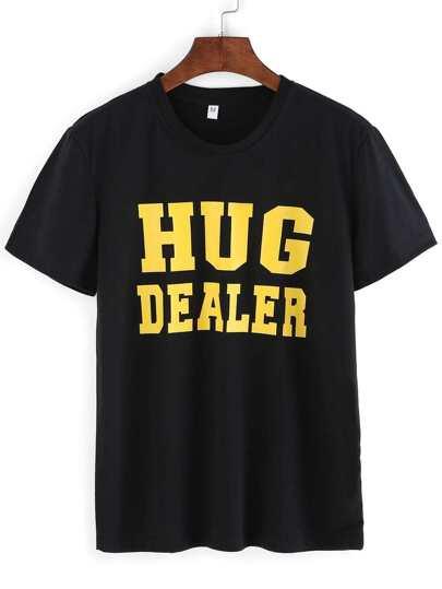 Camiseta estampada de letras -negro