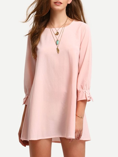 Pink Crew Neck Bow cuff Casual Dress