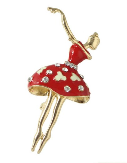 Red Rhinestone Dancer Shape Brooch