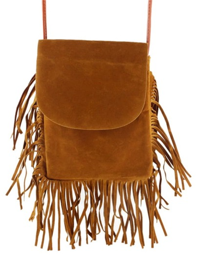 Brown Pu Shoulder Fringes Bag