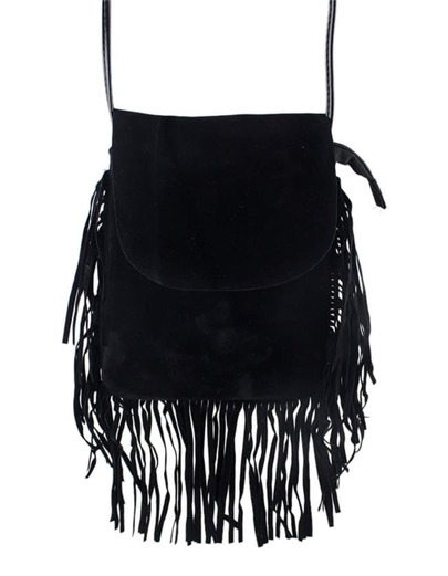 Black Pu Shoulder Fringes Bag