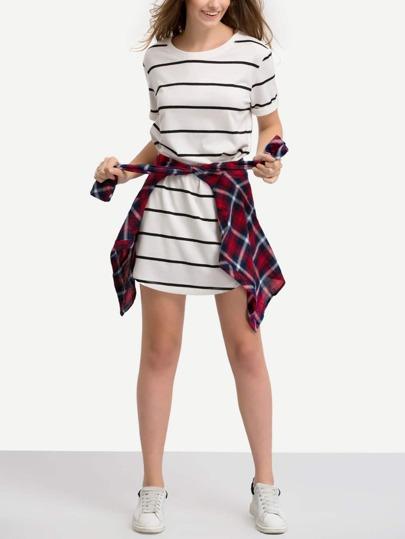 Black White Short Sleeve Striped T-shirt Dress