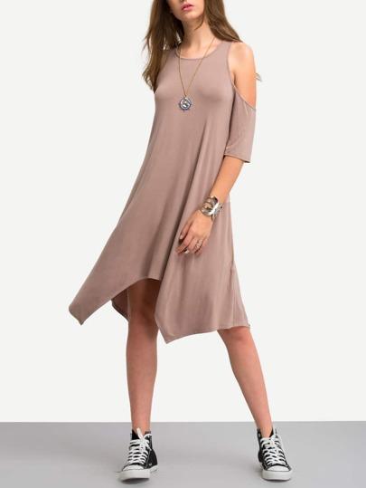 Light Coffee Cold Shoulder Irregular Shift Dress