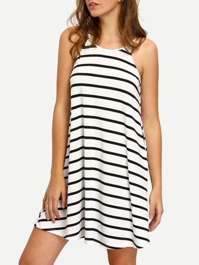 Black White Sleeveless Striped Pockets Shift Dress