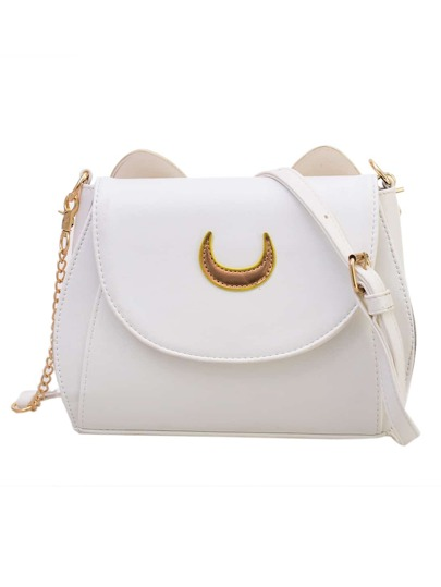 Crescent Patch Flap Bag With Cat Ears - White