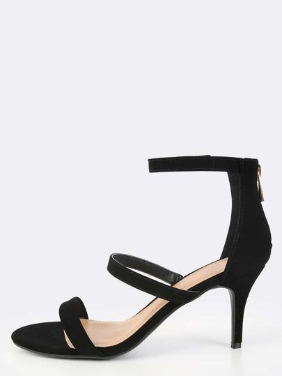 Triple Strap Open Toe Heels BLACK