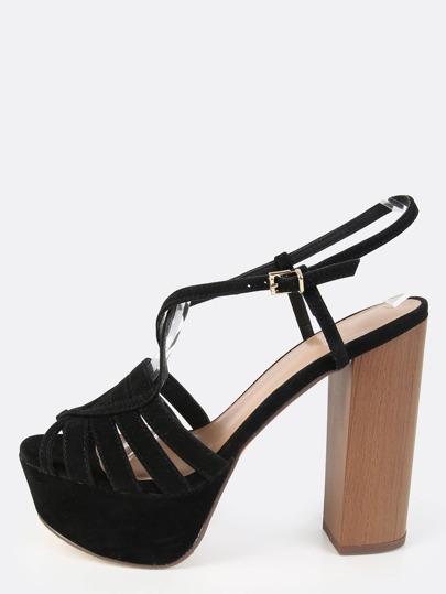 Strappy Peep Toe Chunky Heels BLACK