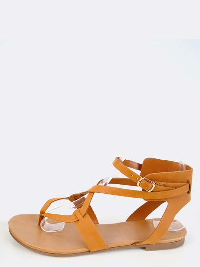 Strappy Thong Sandals TAN