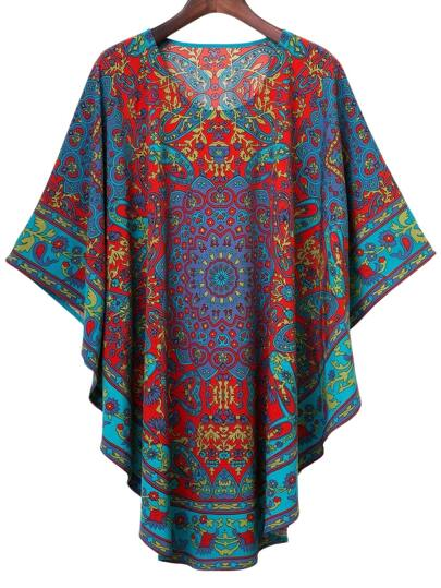 Multicolor Round Neck Batwing Sleeve Vintage Printed Blouse