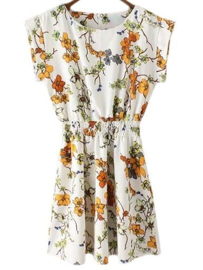 Multicolor Zipper Back Elastic Waist Floral Print Dress