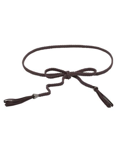 Coffee Wax Rope Knit Tassel Waist Chain