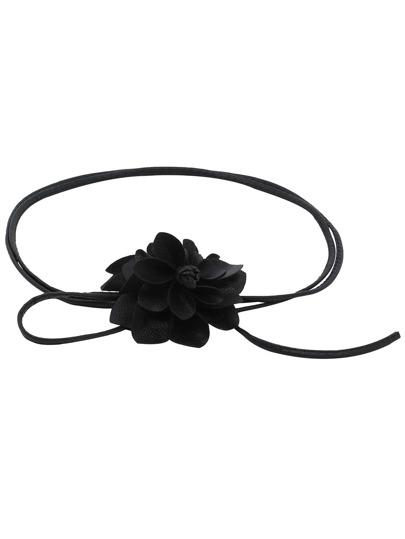 Black Leather Cord Embellished Flower Belts