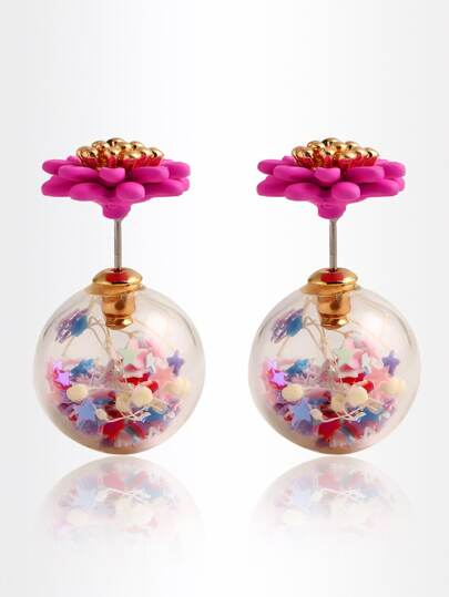 Daisy Double Sided Stud Earrings - Hot Pink