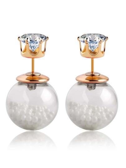 Rhinestone Double Sided Earrings - White