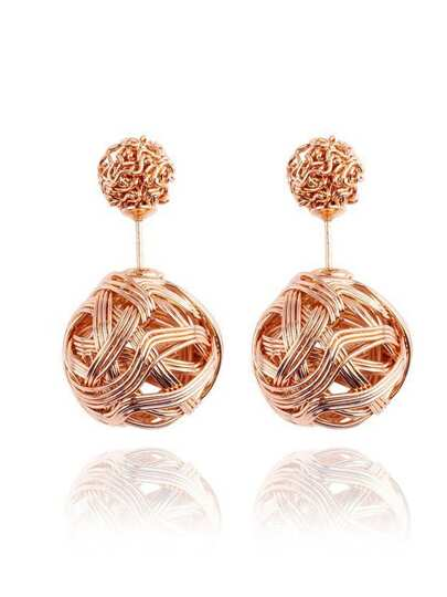 Knot Ball Double Stud Earrings - Gold