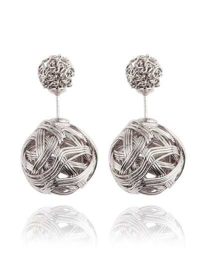 Knot Ball Double Sided Earrings - Silver