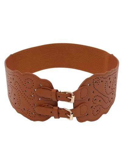 Laser-Cut Wide Waist Dual Buckle Belt - Brown